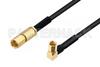 SSMC Plug to SSMC Plug Right Angle Cable 12 Inch Length Using PE-SR405FLJ Coax -- PE3C4481-12 -Image