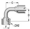 AlfaCrimp One-Piece Fittings - C121 - 90° ORFS Female Solid Bent Tube ISO 12151-1