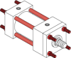 Series A Pneumatic Cylinder - Model A10 NFPA Style MX1 -- Tie-Rods Extended Both Ends