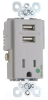 Combination Switch/Receptacle -- TR-8201USBGRY -- View Larger Image
