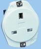 13A/250V White UK/Ireland Panel Mount Socket -- 88010621 -Image