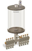 """Levelux Clear View Multiple Feed Manual Lubricator, 1/2 gal Acrylic Reservoir, 9 Feeds, 1/4"""" OD Tube Outlets -- B5178-064AB091W -Image"""