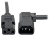 C13 to Left-Angle C14 PDU-Style Power Extension Cord, Heavy Duty - 15A, 100–250V, 14 AWG, 10 ft., Black -- P005-010-14LA - Image