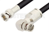 75 Ohm BNC Male to 75 Ohm BNC Male Right Angle Cable 12 Inch Length Using 75 Ohm RG6 Coax, RoHS -- PE33407LF-12 -Image