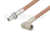 Slide-On BMA Plug Bulkhead to SMA Male Right Angle Cable 6 Inch Length Using RG400 Coax -- PE3C4957-6 -Image