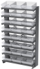 Akro-Mils APRS 400 lb Clear Gray Powder Coated Steel 16 ga Single Sided Fixed Rack - 36 3/4 in Overall Length - 24 Bins - Bins Included - APRS112 CLEAR -- APRS112 CLEAR - Image