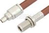 SMA Male to N Female Bulkhead Cable 18 Inch Length Using RG393 Coax -- PE34183-18 -Image