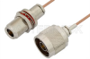 N Male to N Female Bulkhead Cable 36 Inch Length Using RG178 Coax, RoHS -- PE34201LF-36 -Image