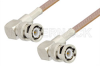 BNC Male Right Angle to BNC Male Right Angle Cable 12 Inch Length Using RG400 Coax, RoHS -- PE3458LF-12 -Image