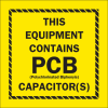 Brady B-946 Black on Yellow Vinyl Hazardous Material Label - 2 in Width - 2 in Height - Printed Text = THIS EQUIPMENT CONTAINS PCB CAPACITOR(S) - 87037 -- 754476-87037