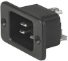 IEC Appliance Inlet C20, Screw-on Mounting, Front Side, Solder, Quick-connect or Screw Terminal -- 1621 -Image