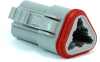Molex 93445-2202 Sealed 3 Circuit Plug Housing, Pre-Assembled Rear Seal and Cover, Grey -- 38422 -Image