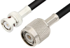 TNC Male to BNC Male Cable 60 Inch Length Using 75 Ohm RG59 Coax, RoHS -- PE3023LF-60 -Image