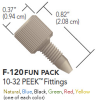 "One-Piece PEEK (Multi-Colored) Fingertight Fitting for 1/16"" OD Tubing, 6pk -- F-120 FUN PACK"
