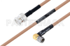 MIL-DTL-17 BNC Male to SMA Male Right Angle Cable 18 Inch Length Using M17/128-RG400 Coax -- PE3M0062-18 -Image