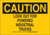 Brady B-401 Polystyrene Rectangle Truck & Forklift Warehouse Traffic Sign - 14 in Width x 10 in Height - TEXT: LOOK OUT FOR POWERED INDUSTRIAL TRUCKS - 129505 -- 754473-78575