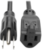 Standard Power Extension Cord, 10A, 18 AWG (NEMA 5-15P to NEMA 5-15R), Black, 3 ft. -- P022-003