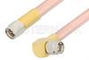 SMA Male to SMA Male Right Angle Cable 24 Inch Length Using RG401 Coax, RoHS -- PE34220LF-24 -Image