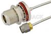 SMA Male to N Female Bulkhead Semi-Flexible Precision Cable 6 Inch Length Using PE-SR405FL Coax, LF Solder, RoHS -- PE39447-6 -Image