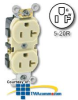 Leviton Side Wired 20 Amp Duplex Receptacle - Industrial.. -- 5342