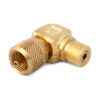 """Male 1/4"""" NPT x Male Quick-test 90 degree elbow with cap and chain, brass -- QTFT-2MBL -- View Larger Image"""