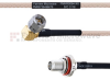 RA SMA Male to SMA Female Bulkhead MIL-DTL-17 Cable M17/113-RG316 Coax in 30 Inch -- FMHR0094-30 -- View Larger Image