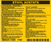 Brady B-928 Black on Yellow Rectangle Vinyl Hazardous Material Label - 4 1/2 in Width - 3 3/4 in Height - Printed Text = ETHYL ACETATE - 93529 -- 754476-93529