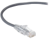 Slim-Net 28-AWG CAT6 250-MHz Ethernet Patch Cable (UTP) - PVC, Snagless, Gray, 3 ft. -- C6PC28-GY-03