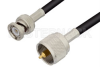 UHF Male to BNC Male Cable 72 Inch Length Using 53 Ohm RG55 Coax -- PE34591-72