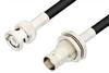 BNC Male to BNC Female Bulkhead Cable 12 Inch Length Using 75 Ohm RG59 Coax -- PE3103-12 -Image