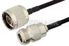 N Male to N Female Semi-Flexible Precision Cable 18 Inch Length Using PE-SR402FLJ Coax, LF Solder, RoHS -- PE39468-18 -Image