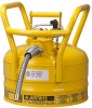 Justrite Accuflow Yellow 2 1/2 gal Safety Can - 12 in Height - 11 3/4 in Overall Diameter - 697841-14082 -- 697841-14082