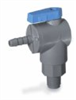 Ball valve, 2-way right angled, BUNA, 3/8