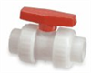 Thermoplastic True Union Ball Valve, polypropylene with Viton seals, PTFE seats, 1/2