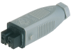 Rectangular Field Attachable Power Connector (ST Series): Female, straight with strain relief and coding slot , 2-pin+PE, grey housing, 230 V AC/DC, 16 A AC/6 A DC -- STAK 200 - Image