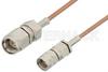 SMA Male to Reverse Thread SMA Male Cable 12 Inch Length Using RG178 Coax, RoHS -- PE35363LF-12 -Image