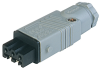 Rectangular Field Attachable Power Connector (ST Series): Female, straight with strain relief , 3-pin+PE, grey housing, 400 V AC/230 V DC, 16 A AC/10 A DC -- STAK 3 N grey - Image