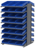 Akro-Mils 1800 lb Blue Gray Powder Coated Steel 16 ga Double Sided Fixed Rack - 36 3/4 in Overall Length - 48 Bins - Bins Included - APRD18178 BLUE -- APRD18178 BLUE - Image