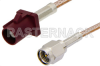 SMA Male to Bordeaux FAKRA Plug Cable 48 Inch Length Using RG316 Coax -- PE39343D-48 -Image