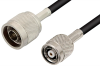 N Male to Reverse Polarity TNC Male Cable 12 Inch Length Using RG58 Coax -- PE34554-12 -Image