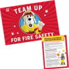 Team Up for Fire Safety Flag and Activities Brochure Set