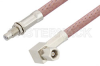 SMC Plug Right Angle to SMC Jack Bulkhead Cable 24 Inch Length Using RG142 Coax, RoHS -- PE34478LF-24 -- View Larger Image