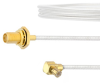 SMA Female Bulkhead to RA MCX Plug Cable FM-SR086TB Coax in 12 Inch with LF Solder -- FMCA2108-12 -Image