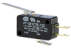 MICRO SWITCH V7 Series Miniature Basic Switch, Single Pole Double Throw Circuitry, 11 A at 250 Vac, Straight Lever Actuator, 1,47 N [5.3 oz] Maximum Operating Force, Silver Contacts, Quick Connect Ter -- V7-1B17D8-122 -Image