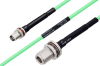 Temperature Conditioned TNC Female Bulkhead to N Female Bulkhead Low Loss Cable 18 Inch Length Using PE-P142LL Coax -- PE3M0168-18 -- View Larger Image