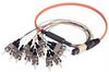 MPO Male to 12x ST Fan-out, 12 Fiber Ribbon, OM2 50/125 Multimode, OFNR Jacket, Orange, 1.0m -- MPM12OM2-ST-1 - Image