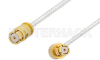 SMP Female to SMP Female Right Angle Cable 36 Inch Length Using PE-SR047FL Coax -- PE36156-36 -Image