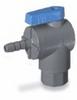 Ball valve, 2-way right angled, BUNA, 3/8