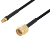 Push-On SMP Female to SMA Male Cable 24 Inch Length Using PE-SR405FLJ Coax with HeatShrink -- PE3W04389/HS-24 -Image