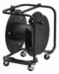 Broadcast and pro-audio applications. The reels are stackable with side mounted connector panels.